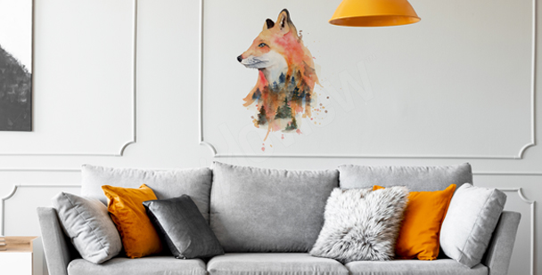 Sticker renard aquarelle