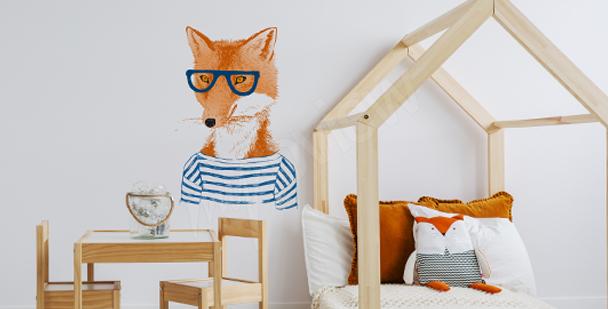 Sticker renard avec des lunettes