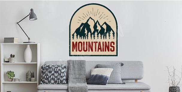 Sticker rétro montagnes