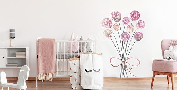 Sticker roses pour une chambre d'enfant