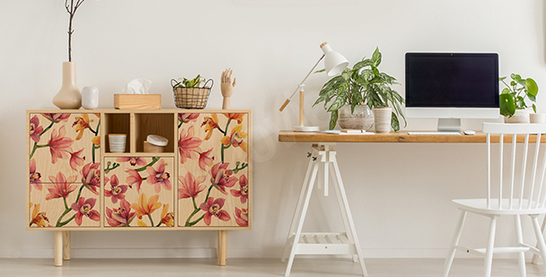 Sticker style floral coloré