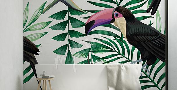Sticker toucan et feuillage