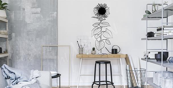 Sticker tournesol noir et blanc