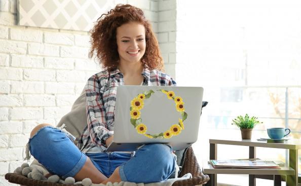 Sticker tournesol pour laptop