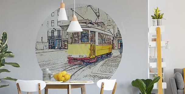 Sticker tramway jaune pour salle à manger