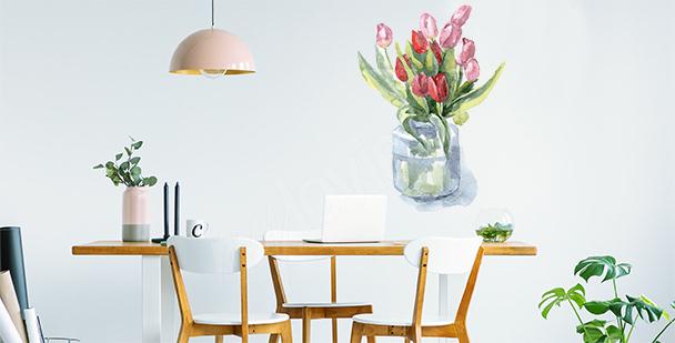 Sticker tulipes dans un vase