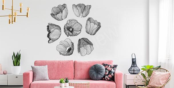 Sticker tulipes noir et blanc