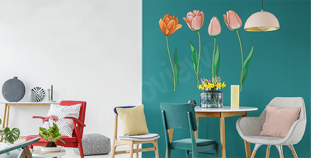 Sticker tulipes peintes à la main