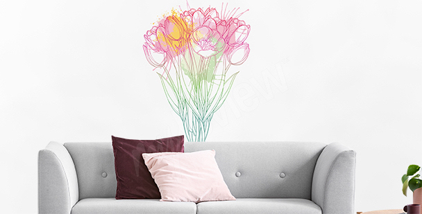 Sticker tulipes peintes au crayon au crayon