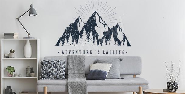 Sticker typographique et montagne