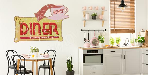 Sticker typographique rétro pour cuisine
