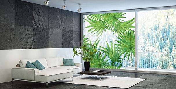 Sticker vitrail feuilles vertes