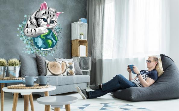 Stiker chat et planète Terre