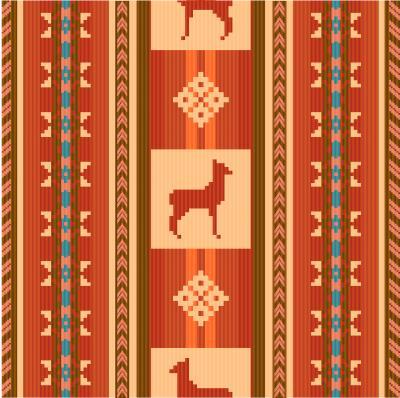 Papiers peints Motif de tissu ethnique ornemental avec des lamas